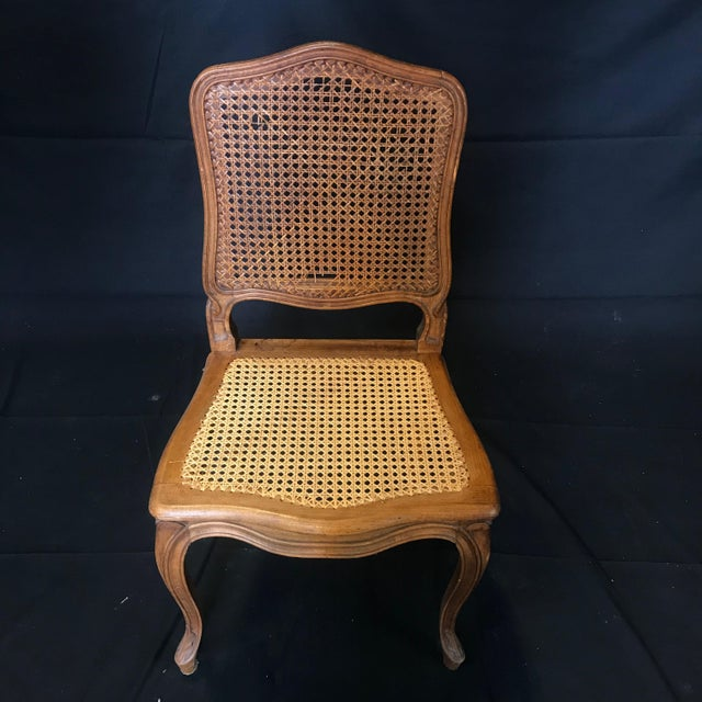 1920s Vintage French Provincial Louis XV Style Walnut and Caned Dining Chairs- Set of 10 For Sale - Image 10 of 13