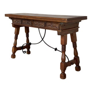 20th Century Spanish Console Fold Out Table With Iron Stretcher and Two Drawers For Sale