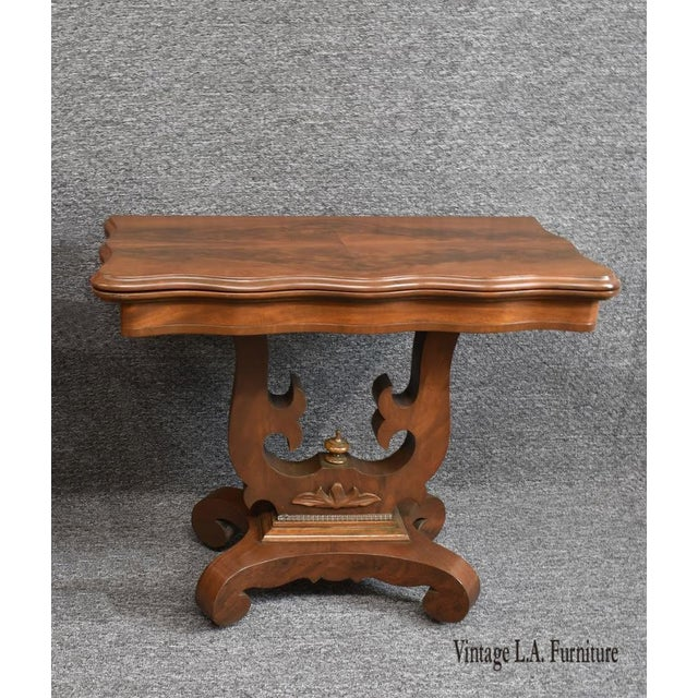 American 19th Century American Empire Game Table Console Table For Sale - Image 3 of 12