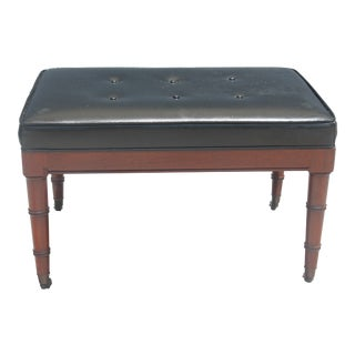 Mid-Century Modern Lux Carved Bamboo Wood & Vinyl Ottoman