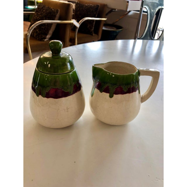 1950s Vintage 1956 Sugar and Cream Drip Pottery Set - Set of 2 For Sale - Image 5 of 5