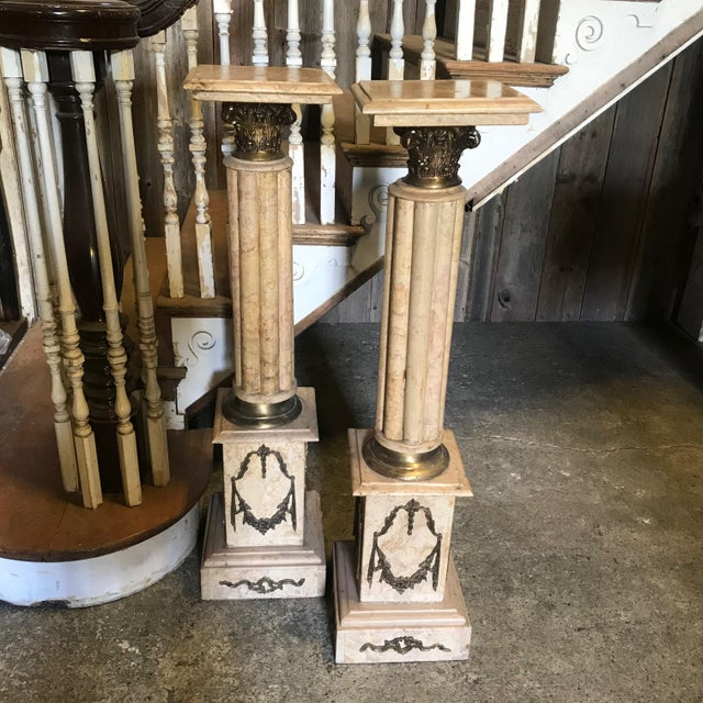 19th Century Marble & Bronze Pedestals Columns-a Pair For Sale - Image 11 of 11