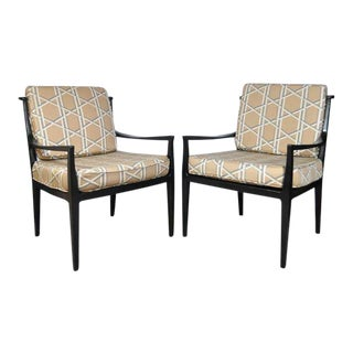 Vintage Mid Century Barbara Barry Baker Style Danish Modern Black Lounge Chairs- A Pair For Sale