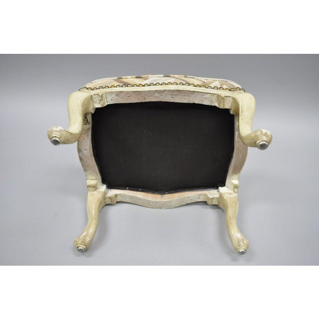 1950s Petite French Provincial Louis XV Style Cream Painted Ottoman Small Footstool For Sale - Image 5 of 12