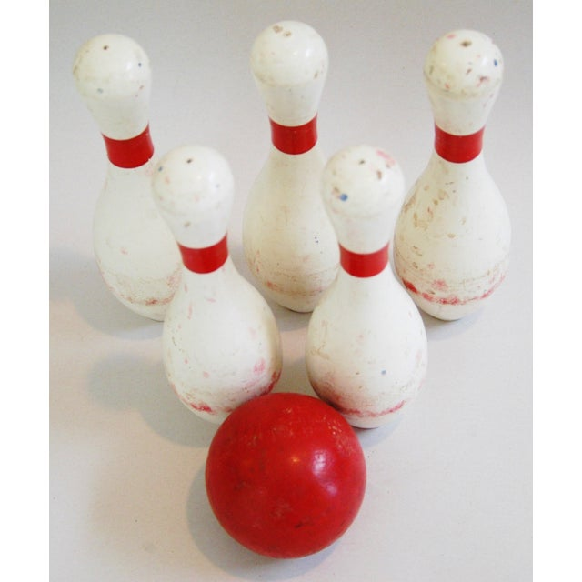 1940s Child's Wood Bowling Pins & Ball - Set of 6 - Image 9 of 10