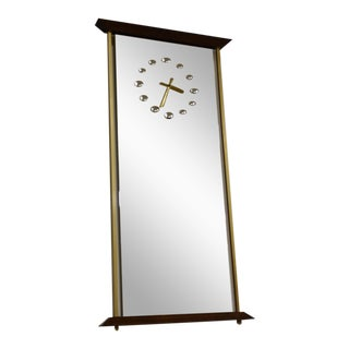 Brass & Mirrored Clock For Sale