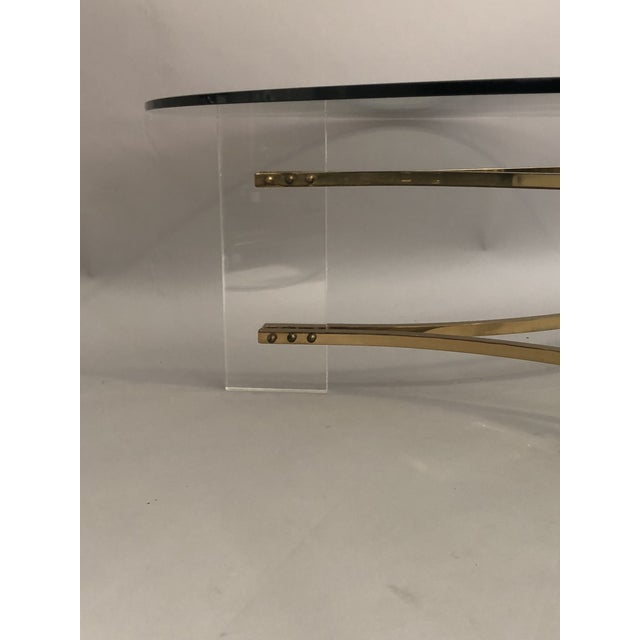Brass Charles Hollis Jones Brass, Glass, and Lucite Coffee Table For Sale - Image 7 of 10