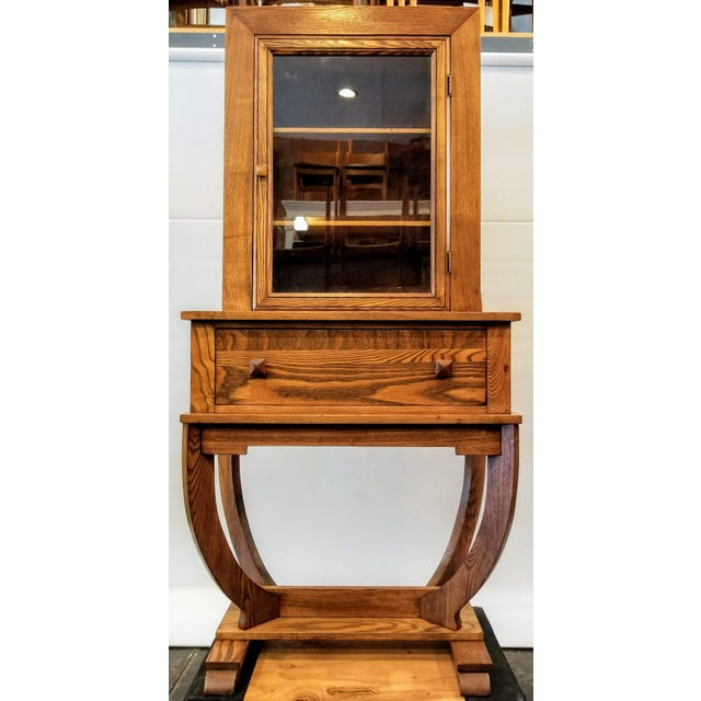 Wood 1920s American Oak Provincial Revivalism / Storybook / Village Haus Style Art Deco China Cabinet For Sale - Image 7 of 7