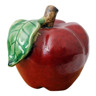 Red Ceramic Apple Figurine / Paperweight For Sale