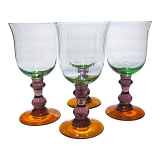 20th Century Contemporary Green Amethyst & Orange Textured Goblets - Set of 4