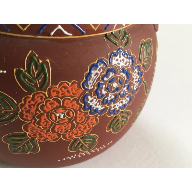 Asian Floral Enameled Clay Teapot For Sale In New York - Image 6 of 8