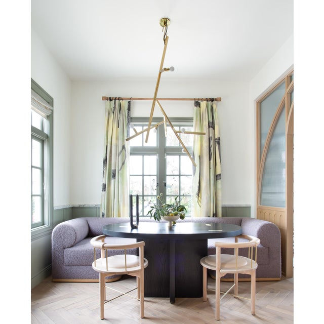 Featured in The 2020 San Francisco Decorator Showcase — Sawkille Co. Ebonized Wood Dining Table With Brass Applique For Sale - Image 4 of 5