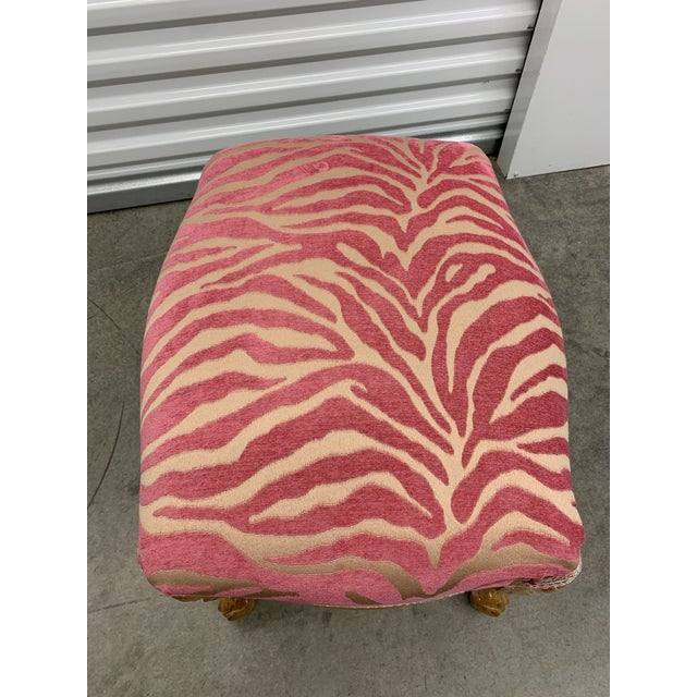 French Carved Stool With Pink Zebra Print Fabric For Sale - Image 4 of 13