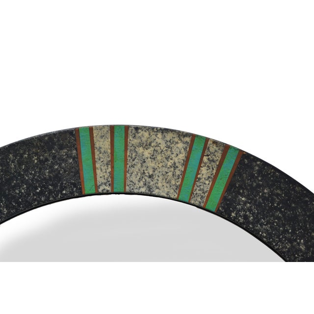 Mid-Century Modern Round Tessellated and Painted Wood Mirror Green and Gray For Sale - Image 3 of 4