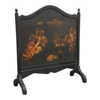 Black Lacquer Chinoiserie Decorated Fireplace Screen For Sale