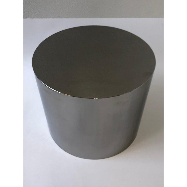 Contemporary 1980s Polish Stainless Drum Side Table by Brueton For Sale - Image 3 of 9