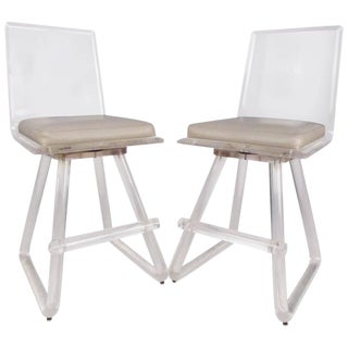 Pair of Mid-Century Modern Lucite Swivel Stools For Sale