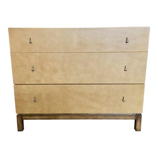 Drexel Heritage Co. Modern Three Drawer Leather Chest For Sale