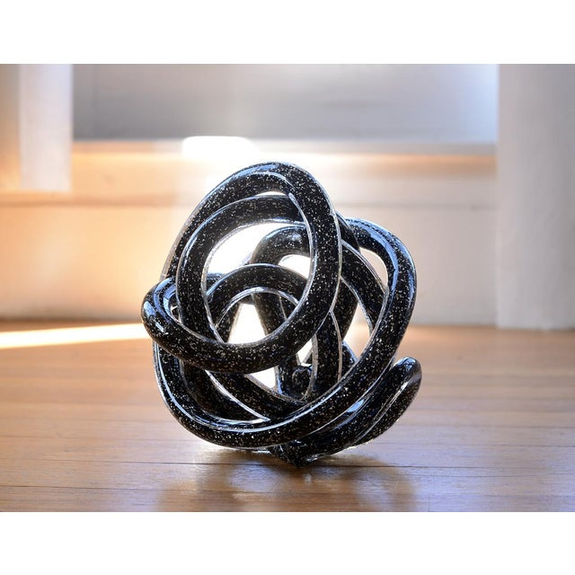 Glass Vintage Black Murano Abstract Twisting Blown Glass Tube Sculpture For Sale - Image 7 of 10