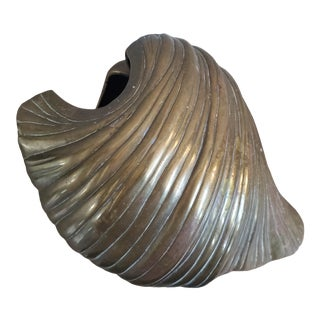 Large Brass Clam Sea Shell Sculpture & Planter For Sale