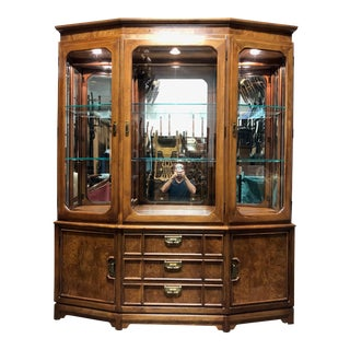 Thomasville Mystique Asian Chinoiserie China Display Cabinet For Sale