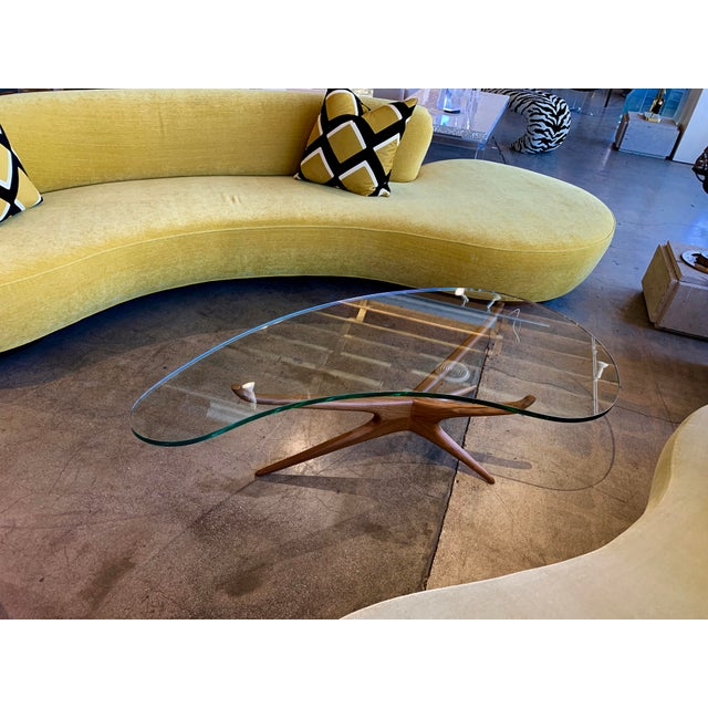 Vladimir Kagan Bimorphic Glass Top Cocktail Table For Sale In Palm Springs - Image 6 of 6