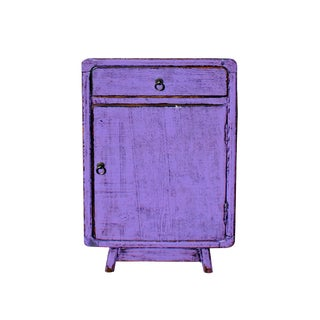 Distressed Purple Lacquer DrawerEnd Table Nightstand For Sale