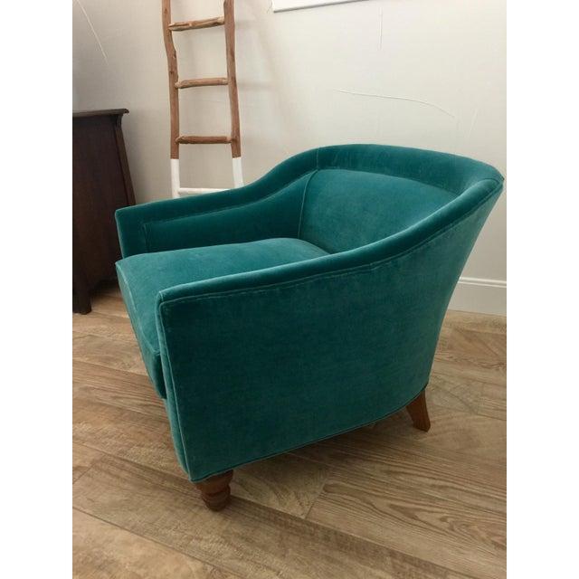 Anthropologie Modern Anthropologie Teal Velvet Holloway Chair For Sale - Image 4 of 8