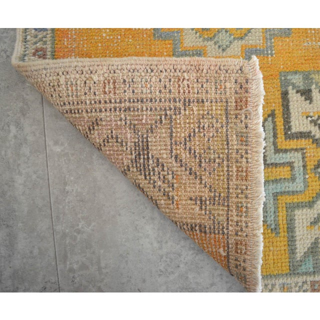 Boho Chic Distressed Rug Low Pile Hand Knotted Yastik Rug Faded Mat- 20'' X 36'' For Sale - Image 3 of 4