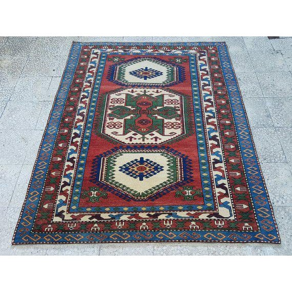 1970s Vintage Caucasian Pattern Turkish Rug - 5′1″ × 6′4″ For Sale In Dallas - Image 6 of 6