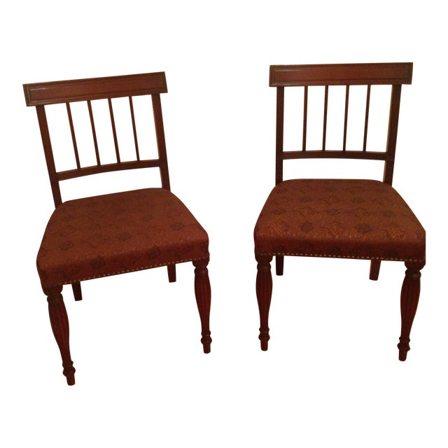 Cherry Wood Side Chairs - A Pair For Sale