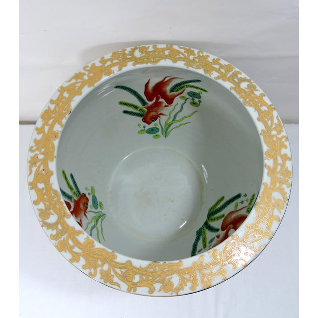 Mid 20th Century Vintage Porcelain Oriental Hand Painted Gilt Goldfish Bowl - Planter For Sale - Image 5 of 10