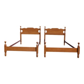 Antique Pair Solid Maple Twin Size Cannonball Bed Frames