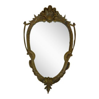 Late 20th Century Vintage Shell Scrolled Top Bronze Mirror For Sale