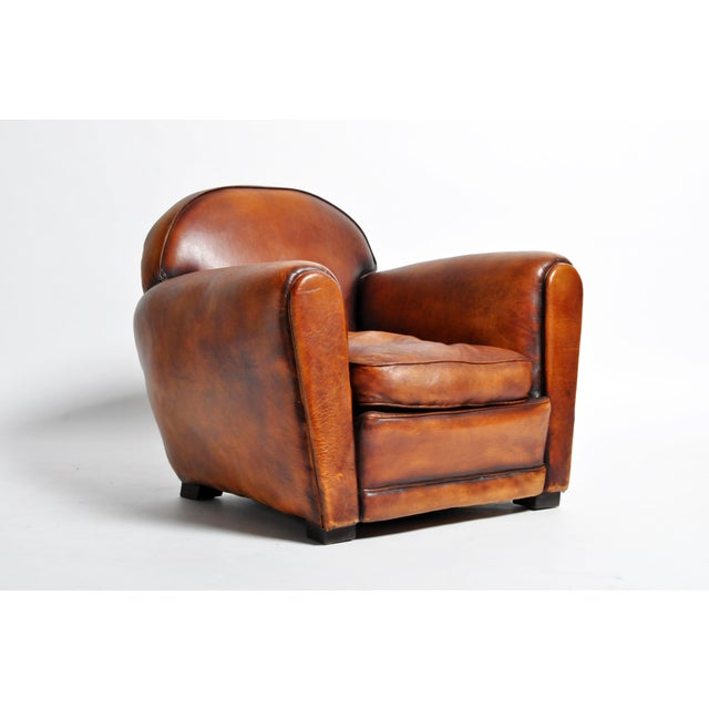 1960s Vintage French Brown Leather Armchairs - a Pair For Sale - Image 4 of 13