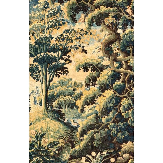 Antique 17th C Flemish Tapestry w Landscape including birds.