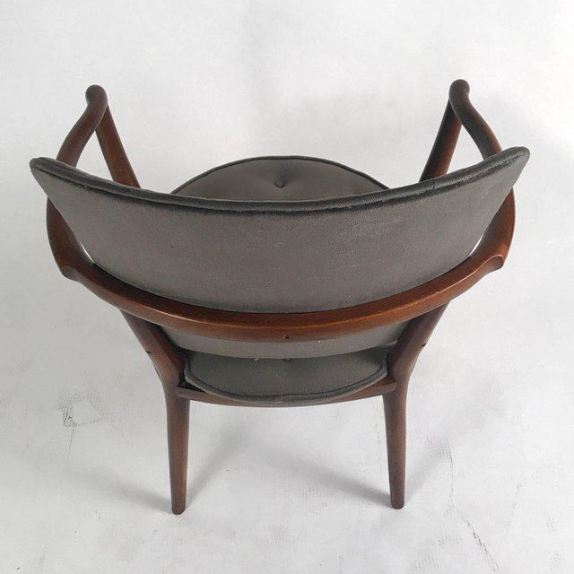 Bert England for Widdicomb Desk/ Armchair in Grey Velvet With Tufting For Sale - Image 11 of 12