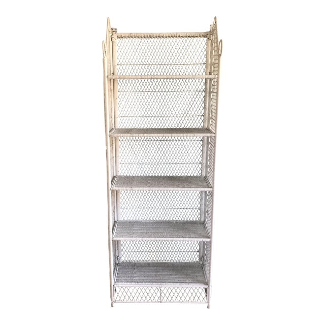 1970s Shabby Chic Victorian White Wicker 5-Shelf Wall Unit For Sale