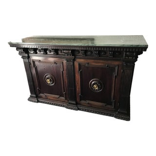 Antique Tuscany Buffet With Green Marble Top, 1800s