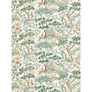 Scalamandre Kelmescott Hand Block Print Fabric, Leaf on Ivory For Sale