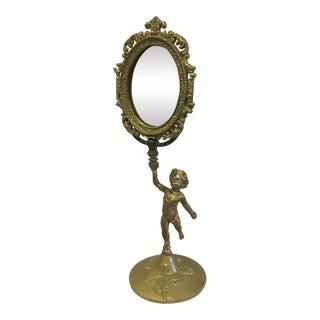 Vintage Mirror on Figurative Metal Stand