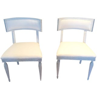 Gray & White Chairs - A Pair For Sale