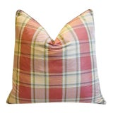 """Image of Brunschwig Fils Plaid Silk/Velvet Feather/Down Pillow 24"""" Square For Sale"""