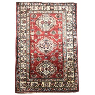 Boho Chic Hand-Knotted Kazak Carpet - 3' X 3'10 For Sale