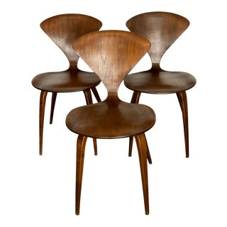 Mid Century Norman Cherner Walnut Side Chairs - Set of 3 For Sale