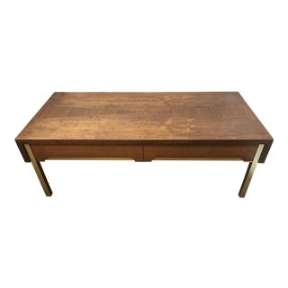 Mid Century Modern Lane Altavista Teak and Brass Coffee Table For Sale