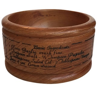 Wood Salad Dressing Recipe Bowl For Sale