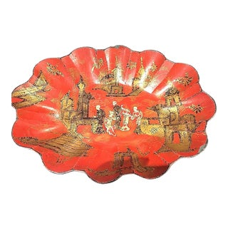 C 1860 Oriental Red Japanned & Papier Mache Tray