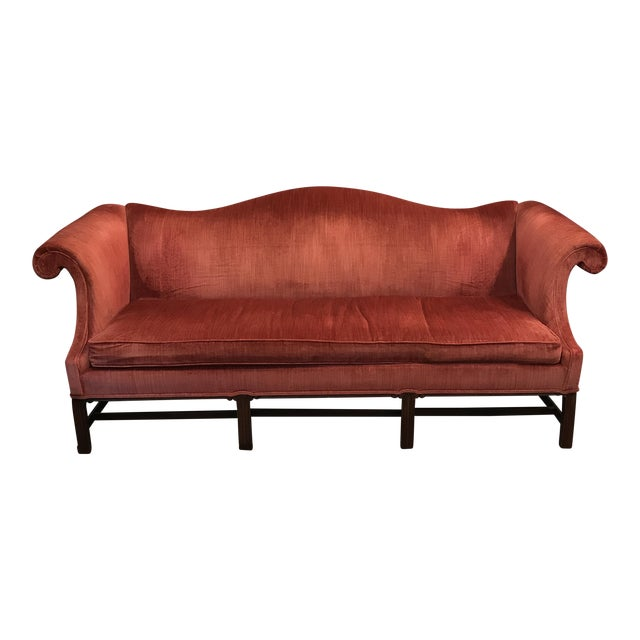 Hickory Chair Camel Back Velvet Sofa - Image 1 of 7