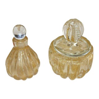 Murano Gold Controlled Bubbles Perfume Bottle & Lidded Powder Jar For Sale